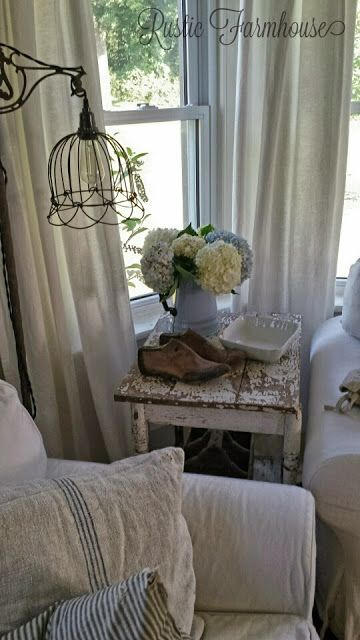 Rustic Farmhouse: Late Summer. Use two baskets I have and rewire the lamp bases using them as the shade