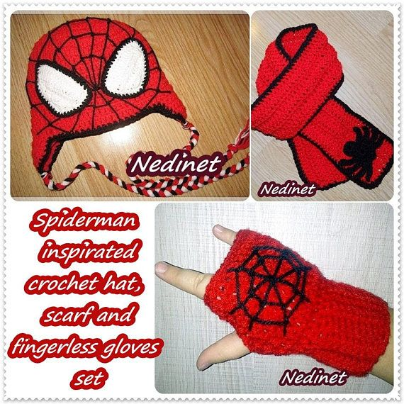 Spiderman Superhero crochet hat scarf and fingerless gloves