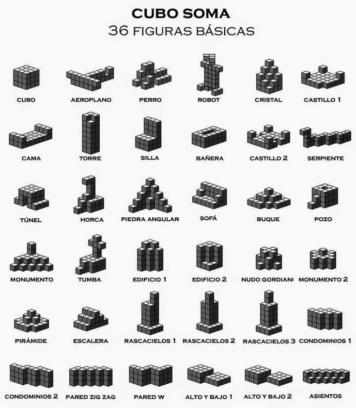 Figuras que se pueden construir con el Cubo Soma #policubos #geometría #cubo #soma
