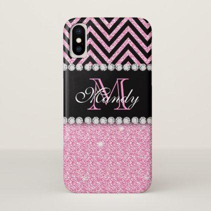 Custom Girly Pink Glitter Black Chevron Monogram iPhone X Case - girly gift gifts ideas cyo diy special unique