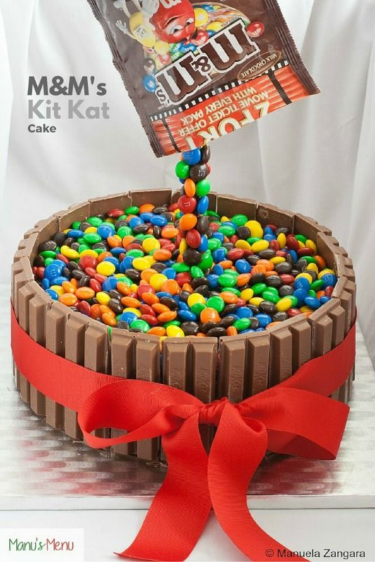 Gravity+Defying+M&M's+Kit+Kat+Cake+-+a+very+easy+cake+decorating+idea+with+the+wow+factor!
