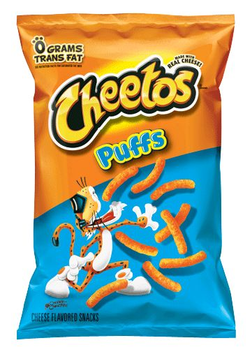 Cheetos! Hate me if you will, but I'm a fan of the Puffs over the crunchy kind. Cheesy, tasty, alil messy, but definitely a good snack.