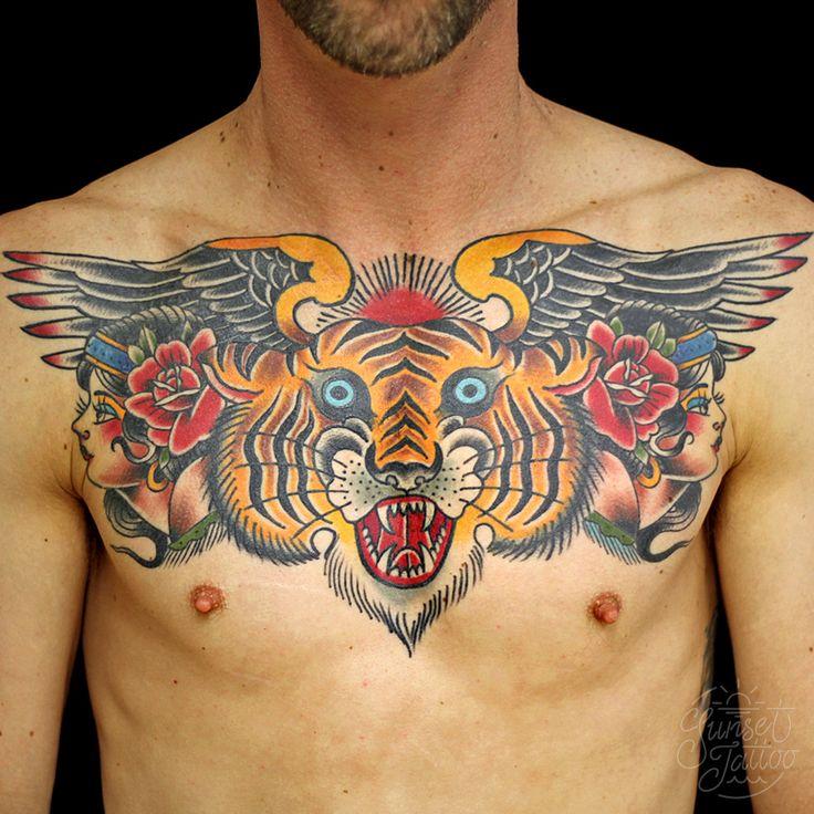 Tom Tiger traditional chest tattoo #sunsettattoo sunsettattoo.co.nz