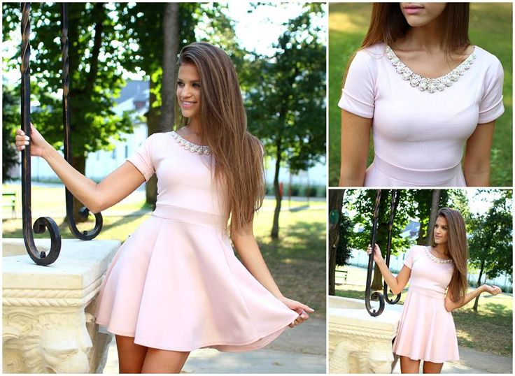 Pink #dress with necklace detail available at www.famevogue.ro  #fashion #style #street