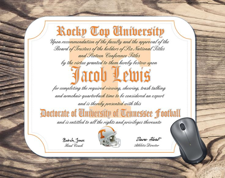 Personalized University of Tennessee Volunteers by MousepadsRus