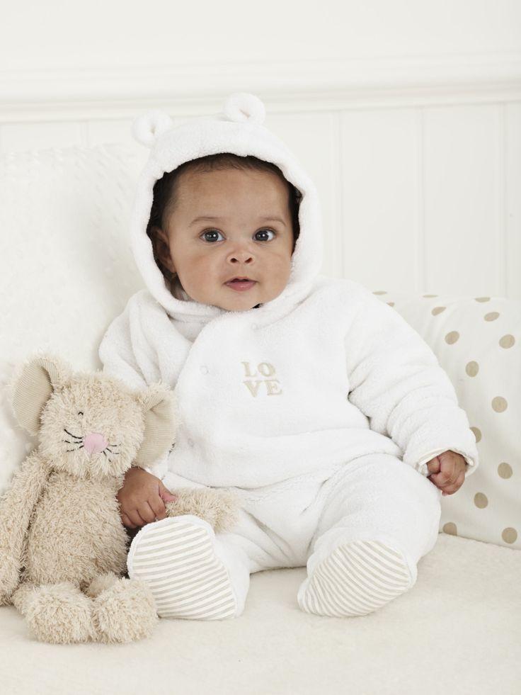 Mothercare Unisex White Fluffy Pramsuit
