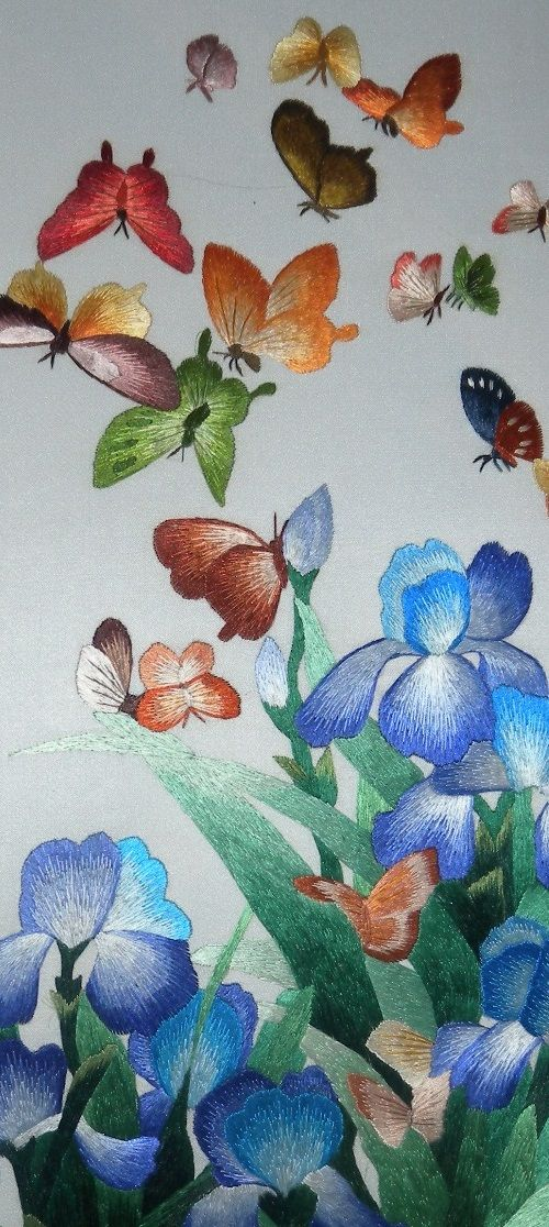 Butterflies with irises detail. Silk hand embroidery on silk. Made in China