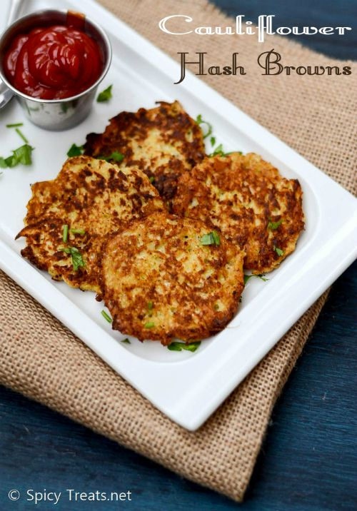 Spicy Treats: Cauliflower Hash Browns Recipe   Guilt Free Hash Brown Recipe   Low Carb Hash Brown - Healthy Kids Snack Recipe