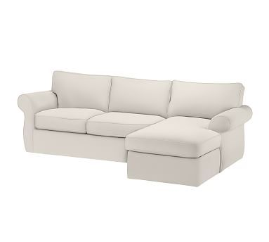 Pearce Roll Arm Slipcovered Sofa With Chaise Sectional