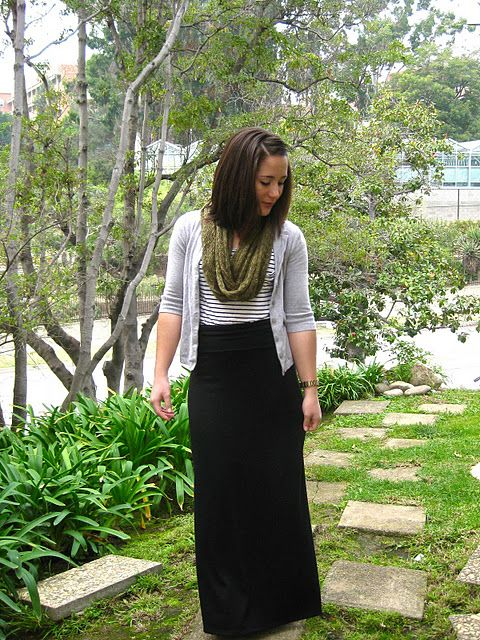 Black maxi, b&w striped top, cami over, with a bright scarf.