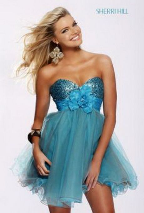 Vestidos azul turquesa cortos.