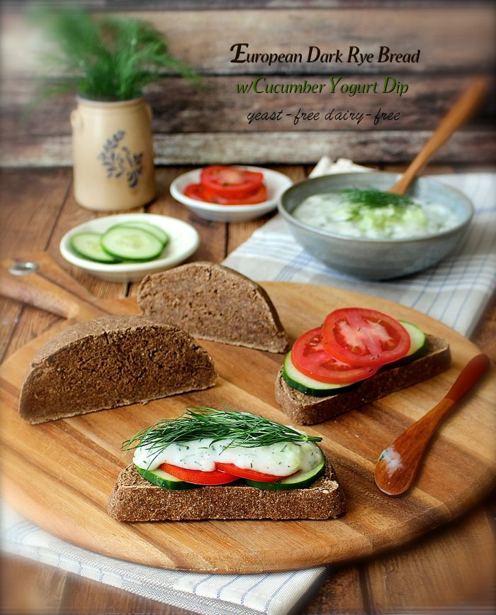 European Dark Rye Bread with Cucumber Yogurt Dip - raw, dairy-free, nut-free bread that's so easy to make. Dehydrate or bake to perfection.