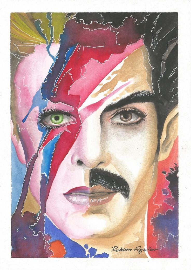 Under Pressure. Minha singela homenagem a David Bowie e Freddie Mercury. Aquarela sobre papel importado 100% algodão de 250g. Tamanho A5. Arte scanneada.  #artesemfronteiras #aquarela #watercolor #davidbowie #freddiemercury