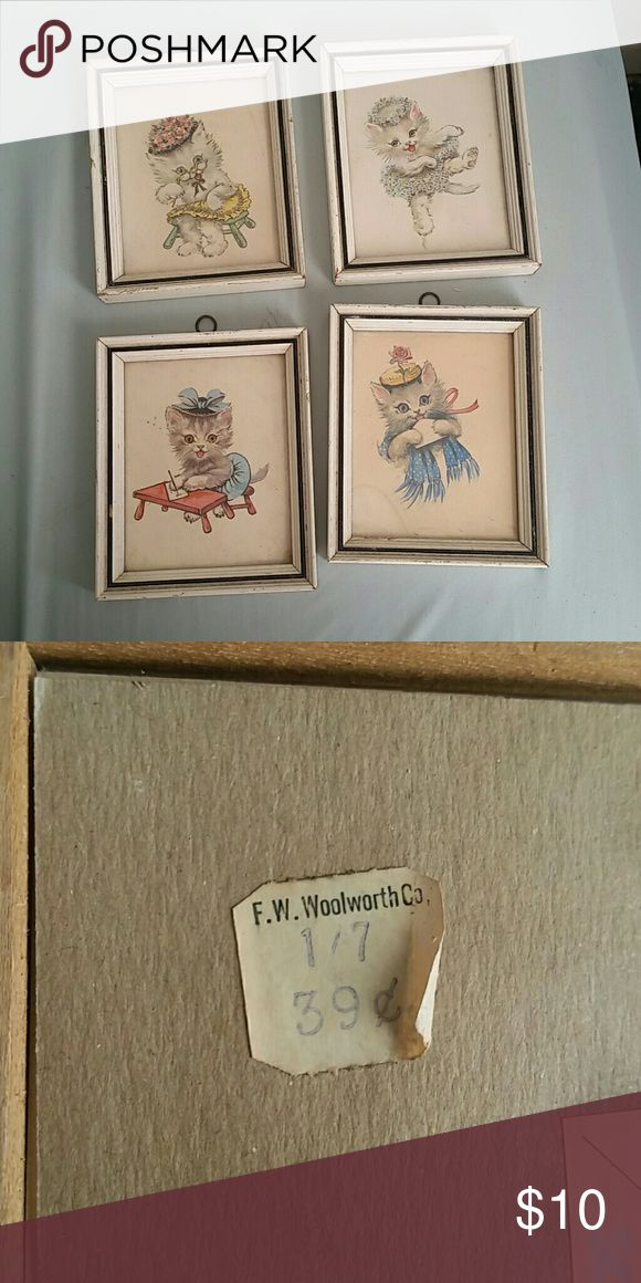 Vintage F.W. Woolworth Co. Cute Cat Picture Frames Includes four frames with cat illustrations. Definitely vintage vibez and need a dustin'. One frame is missing its hook for hanging. Super adorable for the kitchen or bedroom. :) Vintage Other