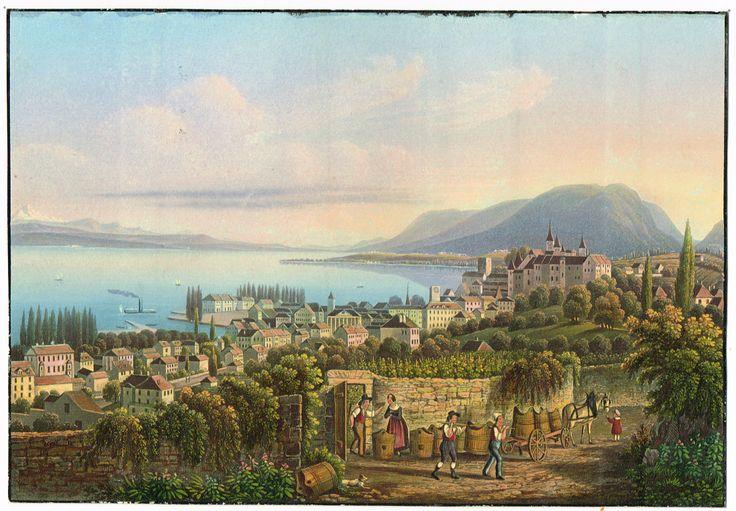 Neuchâtel - gravure imprimée en couleurs - XIXe - MAS Estampes Anciennes - MAS Antique Prints