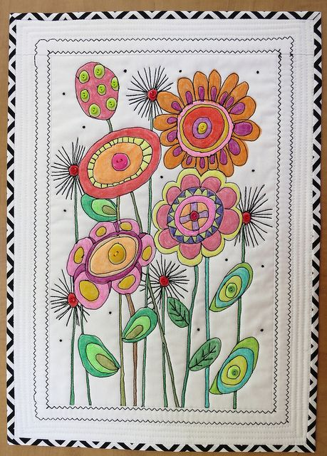 """Prairie Flowers"" by mamacjt, via Flickr. Design was drawn, the colored, then stitched.  Art/sewing project to adapt for kids?"