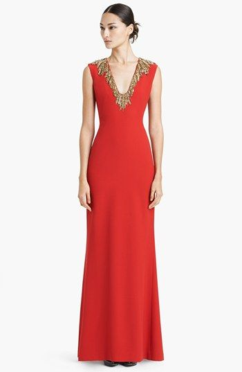 Alexander McQueen Embroidered Neck Leaf Crepe Gown available at #Nordstrom