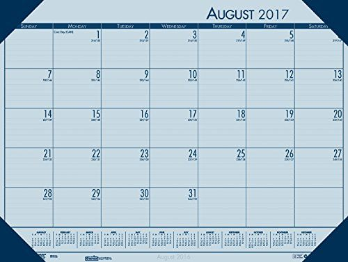 "House of Doolittle 2017-2018 Academic Desk Pad Calendar, EcoTones, Blue, 18.5 x 13 Inches, August - July (HOD012540-18)  August 2017 to July 2018 featuring 12 months for easy planning  Strong, blue color leatherette reinforced corners keep pages in place and protected  Lightly ruled 2.25"" x 1.8"" writing blocks provide ample space for organization  Includes Julian dates and days remaining, full reference calendar on each month so you can plan ahead  Printed with High quality soy-based i..."