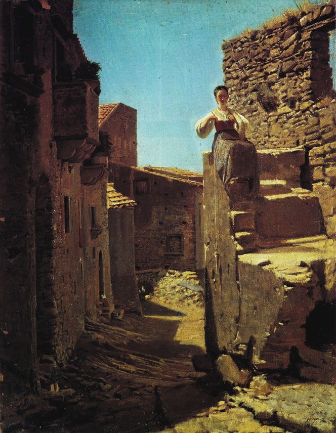 """""""Town Street with Ruins"""" (1871), Filippo Palizzi"""