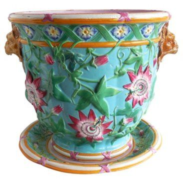 Check out this item at One Kings Lane! Majolica Passiflora Minton Jardinière