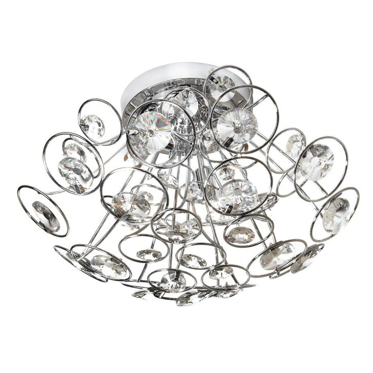 Image Of Off Stanza Polished Chrome Three Light Crystal Flush Mount Light Fixture by Dainolite Light Crystal Flush Mount Type of Crystal Optical Canopy