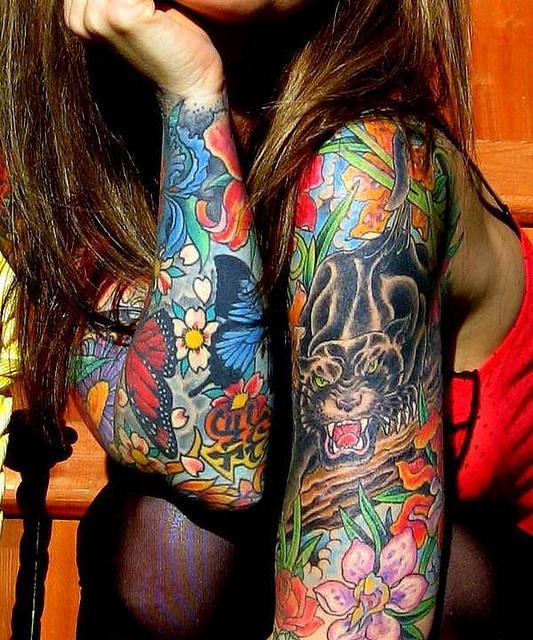 Vivid colored sleeves #tattoos