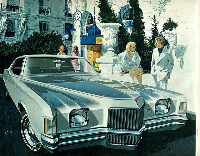Pontiac built its 15,000,000th car on July 16, 1971. Not sure if it was a Grand Prix, but it's hard to pass up an Art Fitzpatrick/Van Kaufman ad. This Grand Prix commercial includes a LaSalle and a Cord in the background.