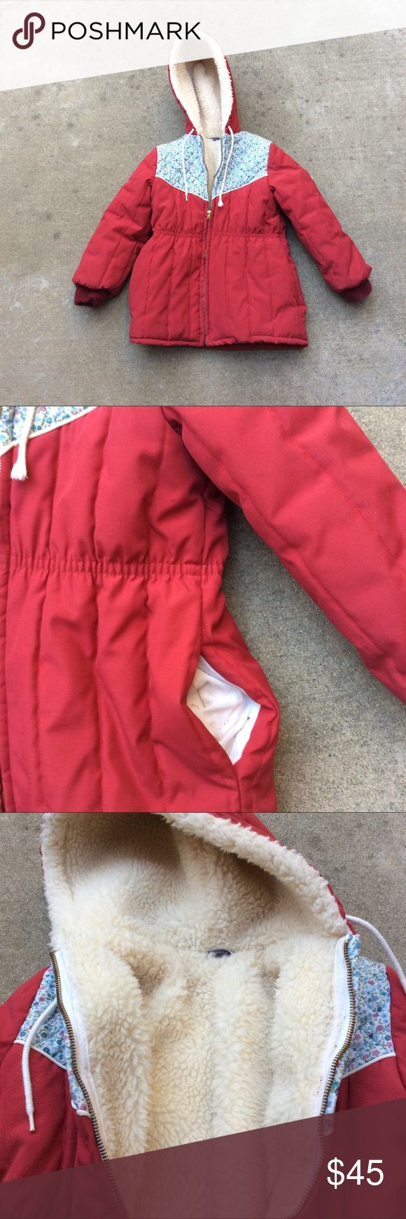 Girls vintage fleece lined coat Vintage 80s girls red quilted FLEECE lined coat BLUE floral w/ hood Tag size 6X 6 EUC. 2 side pockets. Jackets & Coats