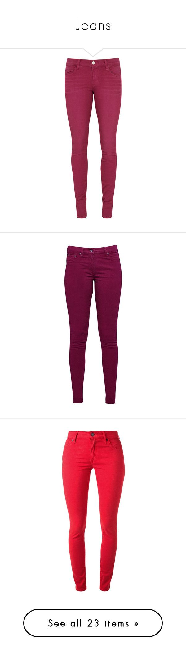"""Jeans"" by myabelard98 ❤ liked on Polyvore featuring jeans, pants, calças, pink, skinny fit jeans, j brand skinny jeans, skinny fit denim jeans, super skinny jeans, purple skinny jeans and bottoms"