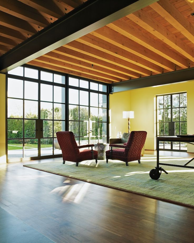 Rho Architects Exposed Steel Beams Living Room Wood