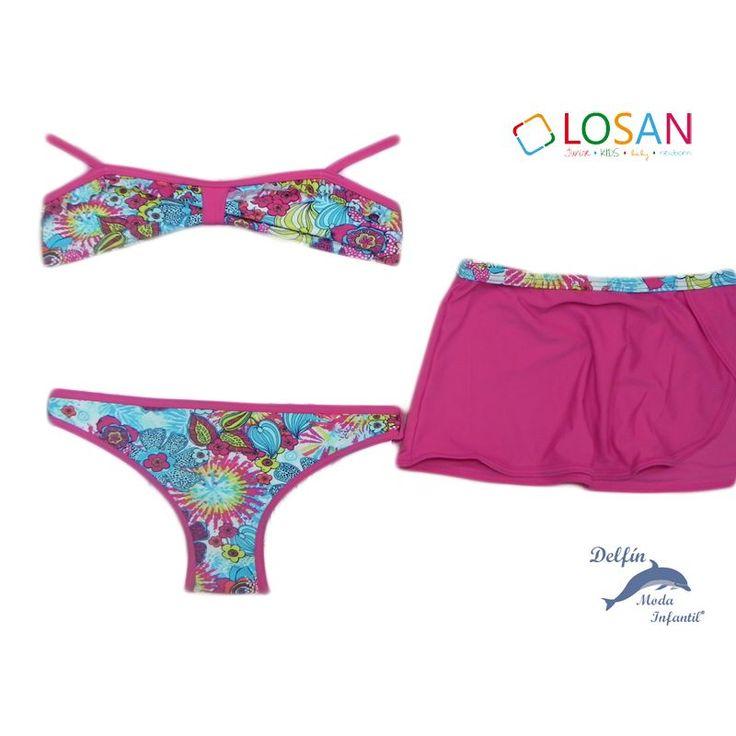 Bikini niña juvenil LOSAN con pareo a juego