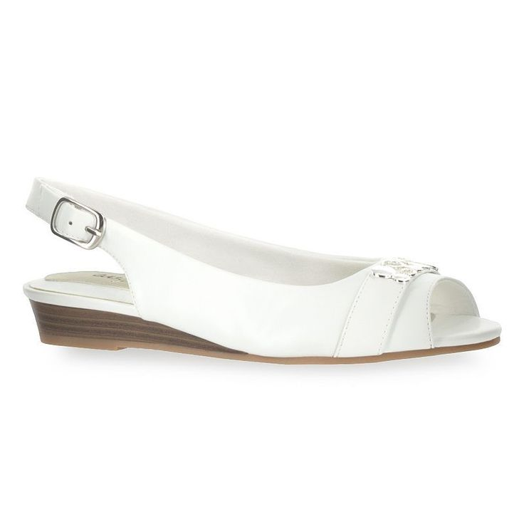 Easy Street Imprompt Women's Slingback Wedges, Size: medium (7.5), White