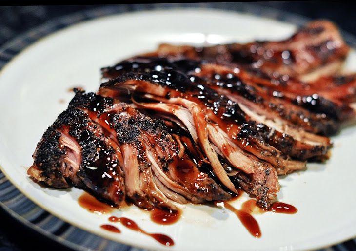 Brown Sugar and Balsamic Glazed Pork Loin Recipe Main Dishes with boneless pork…