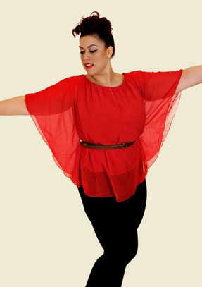 valentines red batwing top