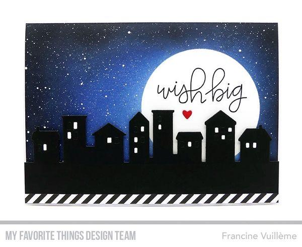 Card by Francine (www.1001cartes.ch) karte, carte, carterie, cardmaking, cardmaker,   crafts, papercrafts, handmade, diy, stamping, #1001cartes,   mftstamps, #mftstamps, die-namics,our town, scene, night sky