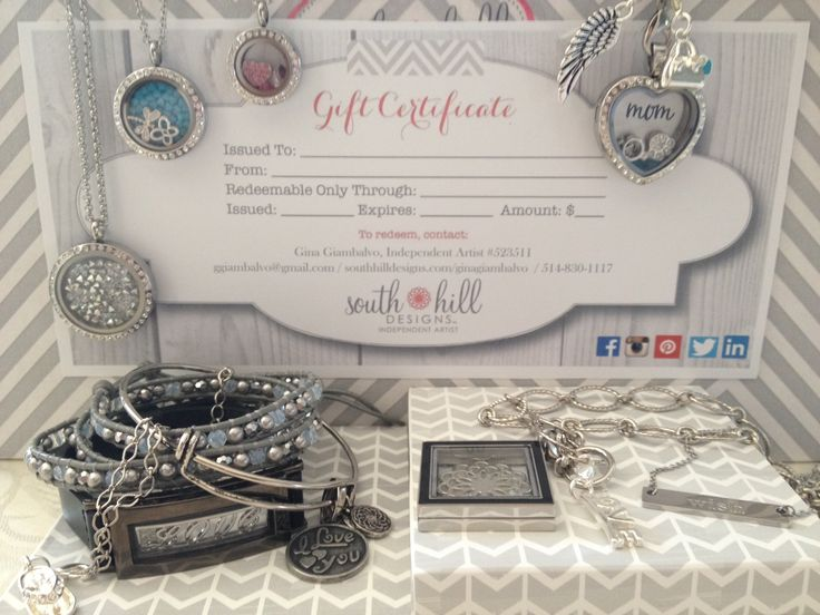 Gift Certificates now available from South Hill Designs by Independent Artist Gina Giambalvo! They make great gits for Mother's Day, Birthdays, Anniversaries, Valentine's Day, or Christmas!