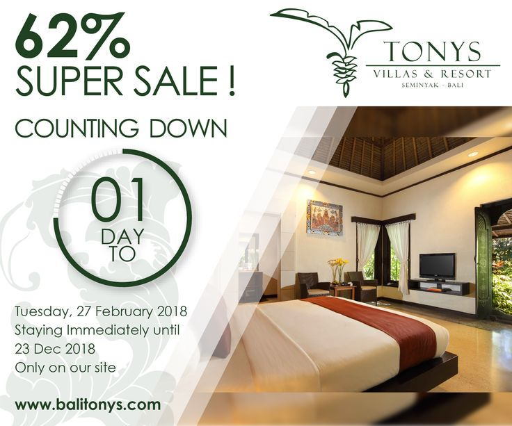 One day to Live! Mark your calendar. Prepare your gadget and we are ready to live this super sale.  . . #Bali #Seminyak #deals #bestdeals #hotelsdeals #hotelpromo #supersale #sale #holiday #promotion #staydifferent #hotdeals #honeymoon #tonysvilla #balimagic  www.balitonys.com
