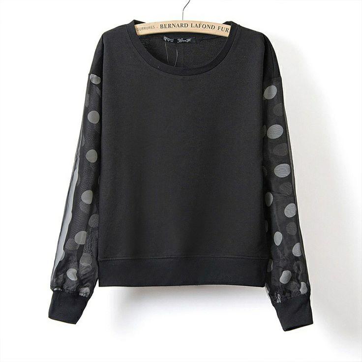 Hot Sale Women's Boutique Crew Neck Patchwork Dot Gauze Long Sleeve Sweatshirt WF 5248-in Hoodies & Sweatshirts from Apparel & Accessories o...