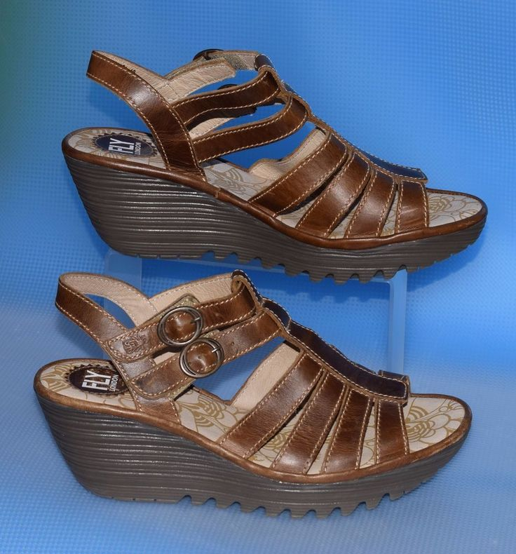 EUC Fly of London Ygor Brown Womens Sandals Strappy Wedge Size 40/ 9-9.5 #FlyLondon #PlatformsWedges