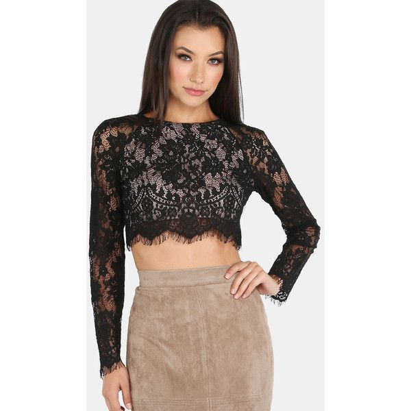 Sleeved Lace Crop Top BLACK ($23) ❤ liked on Polyvore featuring tops, black, lace shirt, lace sleeve top, asymmetrical shirt, lace top and lace up shirt