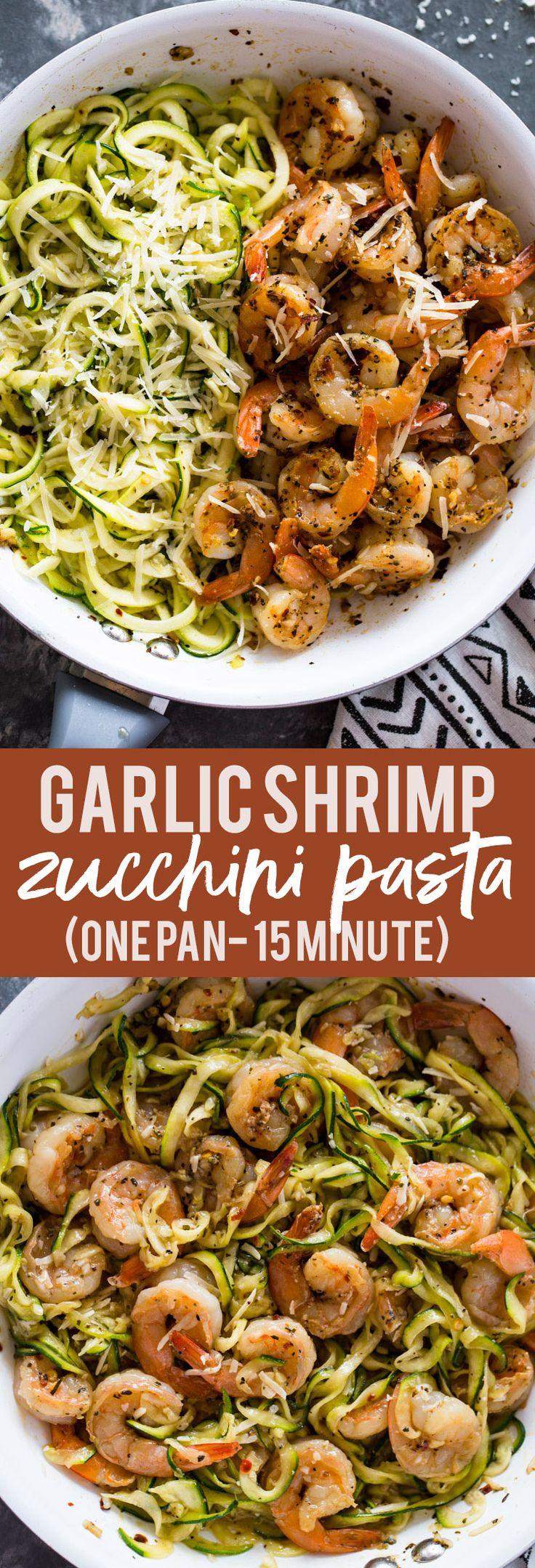 15 Minuten Knoblauch Garnelen Zucchini Pasta