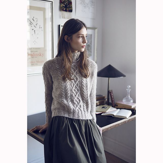 Cabled sweater knitted with one strand of Isager Tweed and one strand Isager Silk Mohair.
