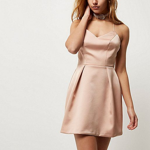 Blush pink cami strap mini dress - slip / cami dresses - dresses - women