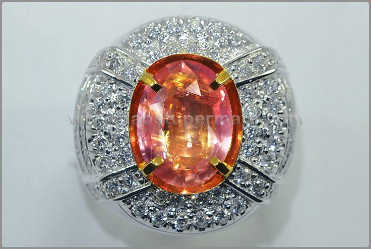 Natural No Heat PADPHARASCHA Crystal. Big Size + Face - PP 100