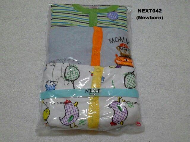 #Sleepsuit Next (NEXT042) ~ 130ribu ~ Ukuran : Newborn, Panjang badan bayi s/d 56cm (s/d 4.5kg) ~ Sleepsuit Next ini terdiri dari 3 baju dalam 1 paketnya (Lengan panjang & celana panjang tutup kaki yang menyatu)