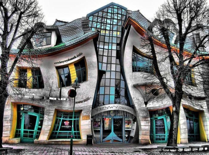 In Sopot, Poland, stands one of the strangest buildings in the world. The Crooked House was built in 2004 and inspired by the paintings and drawings of Jan Marcin Szancer, a Polish artist and illustrator of children's books, and Per Dahlberg, a Swedish painter. #crazydesign