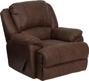 Flash Furniture MEN-DSC01035-BOMBER-GG Over Stuffed Bomber Jacket Microfiber Lever Rocker Recliner, Brown