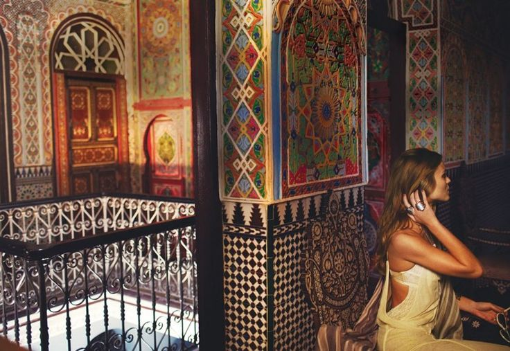 Tangiers, Morocco:  Hôtel Continental is an 1860's hotel ornamented with the mosaic tile work and carved mahogany.