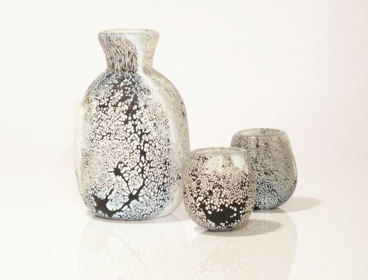 Shino sake set by Vicky Higginson: Glass Artist. Hand blown glass, sandblasted. ©Vicky Higginson