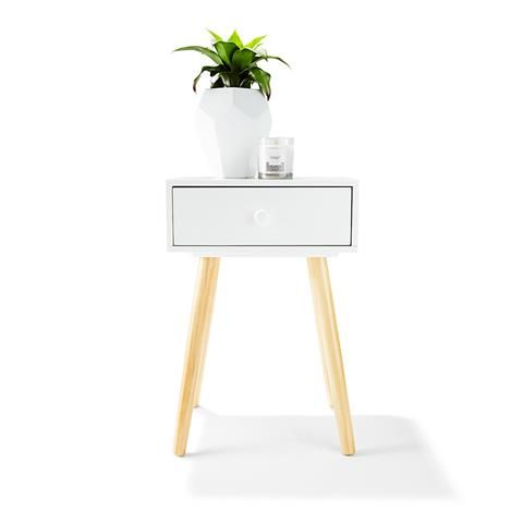 2Toned Side Table with Drawer White & Natural 35 via